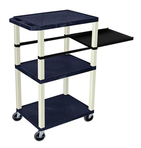 H Wilson WTPSP42ZE H Wilson Tuffy Navy Blue 3 Shelf With Putty Legs & Black Side Pull-out Shelf Presentation Station - Peazz.com