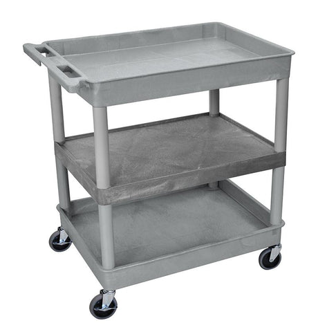 Luxor TC121-G 3 Shelf Large Gray Tub Cart - Peazz.com