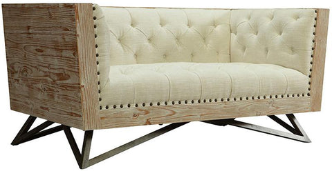 Armen Living LCRE2CR Regis Cream Loveseat With Pine Frame And Gunmetal Legs - Peazz.com