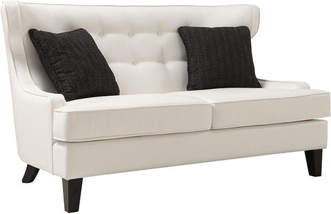 Armen Living LCSK2WH Skyline Loveseat In Cream Bonded Leather - Peazz.com