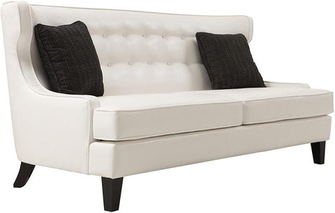 Armen Living LCSK3WH Skyline Sofa In Cream Bonded Leather - Peazz.com