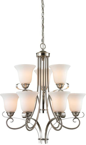 Cornerstone 1009CH/20 Brighton 9 Light Chandelier In Brushed Nickel - Peazz.com