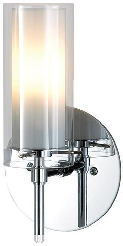 Cornerstone 6671WS/30 1 Light Wall Sconce In Chrome With Clear And White Opal Glass - Peazz.com