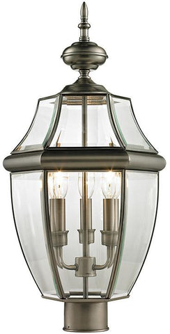 Cornerstone 8603EP/80 Ashford 3 Light Exterior Post Lantern In Antique Nickel - Peazz.com