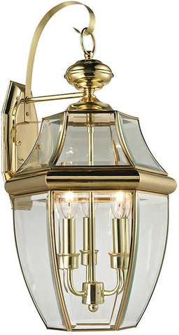 Cornerstone 8603EW/85 Ashford 3 Light Exterior Coach Lantern In Antique Brass - Peazz.com