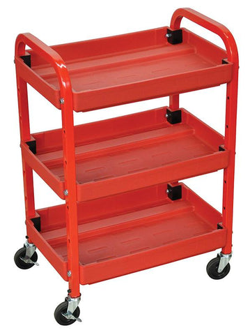 Luxor ATC332 Luxor 3 Shelf Utility Cart Red - Peazz.com