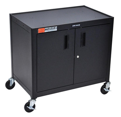 Luxor AV30XLC Black Extra Large Metal Cart With Cabinet - Peazz.com