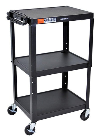 Luxor AVJ42 Luxor Adjustable Height Black Metal A/V Cart - Peazz.com