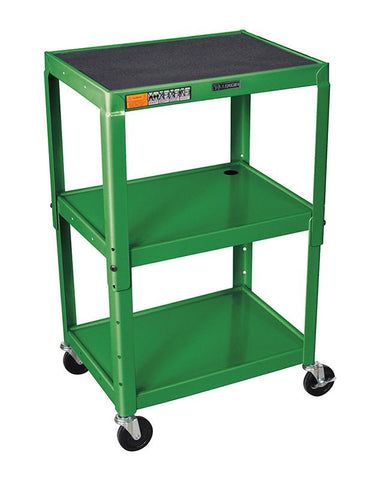 Luxor AVJ42-GN Luxor Adjustable Height Green Metal A/V Cart - Peazz.com