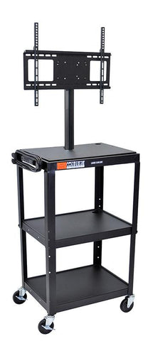 Luxor AVJ42-LCD Luxor Adjustable Height Black Metal Cart with Flat Panel Mount - Peazz.com