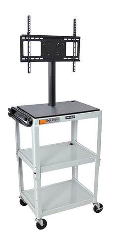 Luxor AVJ42-LCD-LG Luxor Adjustable Height Light Gray Metal Cart with Flat Panel Mount - Peazz.com
