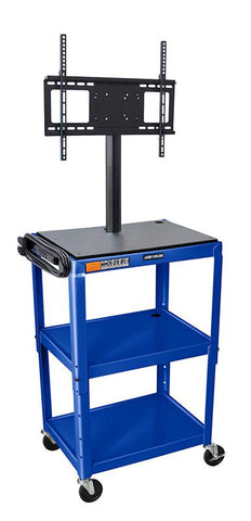 Luxor AVJ42-LCD-RB Luxor Adjustable Height Royal Blue Metal Cart with Flat Panel Mount - Peazz.com