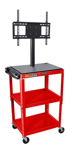 Luxor AVJ42-LCD-RD Luxor Adjustable Height Red Metal Cart with Flat Panel Mount - Peazz.com