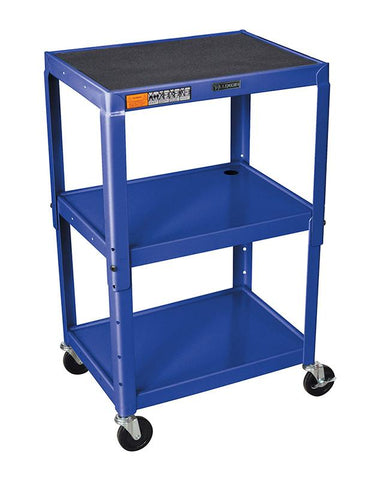 Luxor AVJ42-RB Luxor Adjustable Height Royal Blue Metal A/V Cart - Peazz.com