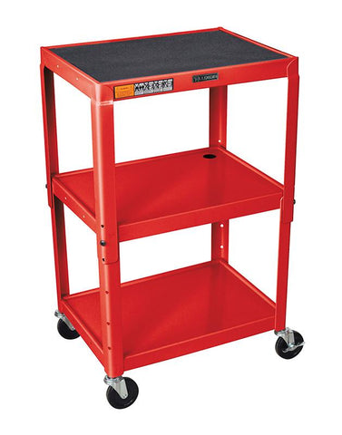 Luxor AVJ42-RD Luxor Adjustable Height Red Metal A/V Cart - Peazz.com