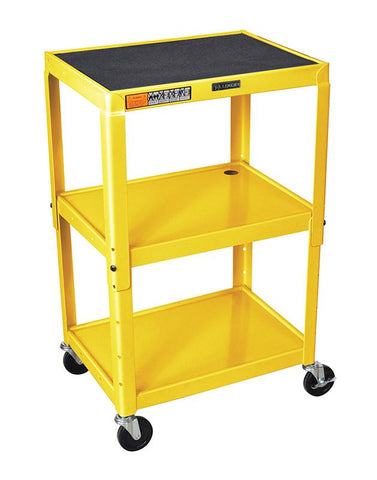 Luxor AVJ42-YW Luxor Adjustable Height Yellow Metal A/V Cart - Peazz.com