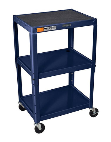 Luxor AVJ42-Z Luxor Adjustable Height Navy Metal A/V Cart - Peazz.com