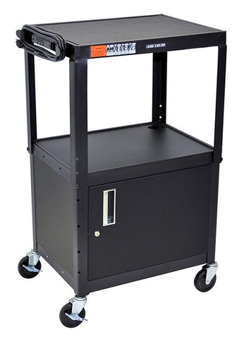 "Luxor AVJ42C Luxor Black 42"" Adj Height Cart With Cabinet - Peazz.com"