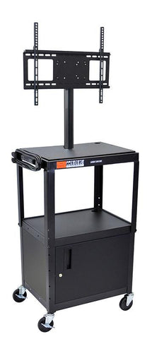 "Luxor AVJ42C-LCD Luxor Black 42"" Adj Height Cart With Cabinet & LCD Mount - Peazz.com"