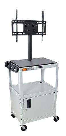 "Luxor AVJ42C-LCD-LG Luxor Gray 42"" Adj Height Cart With Cabinet & LCD Mount - Peazz.com"