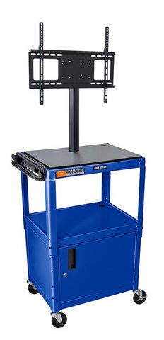 "Luxor AVJ42C-LCD-RB Luxor Blue 42"" Adj Height Cart With Cabinet & LCD Mount - Peazz.com"