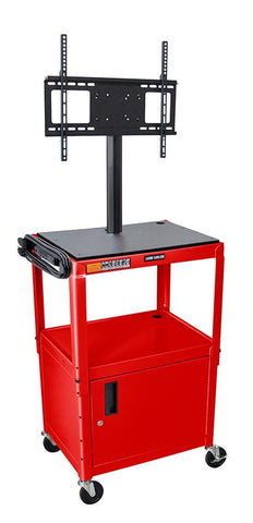 "Luxor AVJ42C-LCD-RD Luxor Red 42"" Adj Height Cart With Cabinet & LCD Mount - Peazz.com"