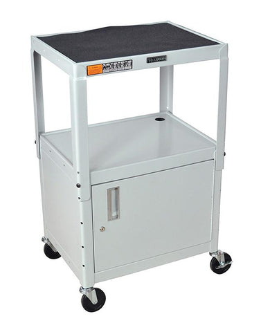 "Luxor AVJ42C-LG Luxor Gray 42"" Adj Height Cart With Cabinet - Peazz.com"