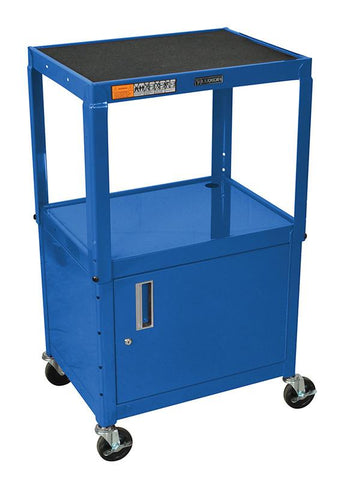 "Luxor AVJ42C-RB Luxor Blue 42"" Adj Height Cart With Cabinet - Peazz.com"