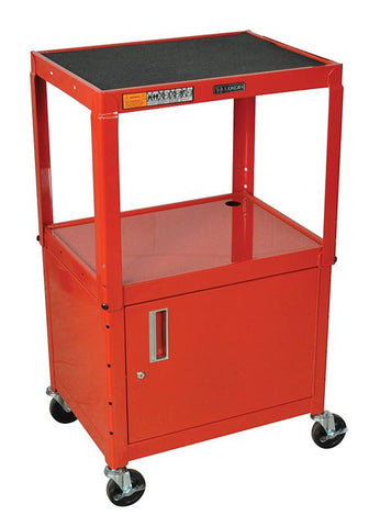 "Luxor AVJ42C-RD Luxor Red 42"" Adj Height Cart With Cabinet - Peazz.com"
