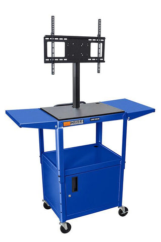 "Luxor AVJ42CDL-LCD-RB Luxor Blue 42"" Adj Height Cart With Cabinet & LCD Mount & Drop Leaf Shelves - Peazz.com"