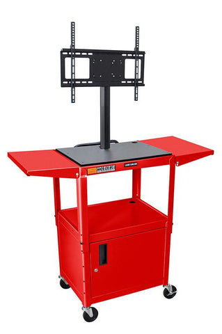 "Luxor AVJ42CDL-LCD-RD Luxor Red 42"" Adj Height Cart With Cabinet & LCD Mount & Drop Leaf Shelves - Peazz.com"