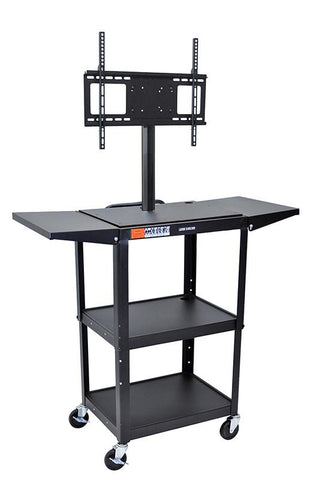 "Luxor AVJ42DL-LCD Luxor Black 42"" Adj Height Cart With Drop Leaf Shelves & LCD Mount - Peazz.com"