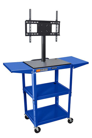 "Luxor AVJ42DL-LCD-RB Luxor Blue 42"" Adj Height Cart With Drop Leaf Shelves & LCD Mount - Peazz.com"