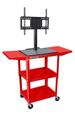"Luxor AVJ42DL-LCD-RD Luxor Red 42"" Adj Height Cart With Drop Leaf Shelves & LCD Mount - Peazz.com"