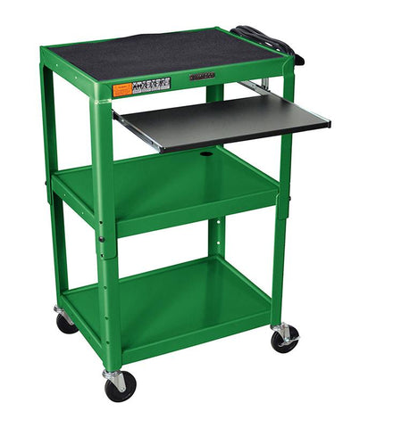 Luxor AVJ42KB-GN Luxor Adjustable Height Green Metal A/V Cart With Pullout Keyboard Tray - Peazz.com