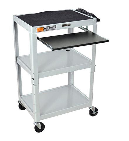 Luxor AVJ42KB-LG Luxor Adjustable Height Gray Metal A/V Cart With Pullout Keyboard Tray - Peazz.com
