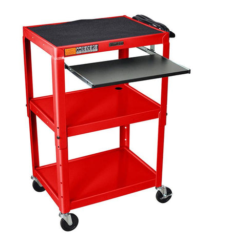 Luxor AVJ42KB-RD Luxor Adjustable Height Red Metal A/V Cart With Pullout Keyboard Tray - Peazz.com