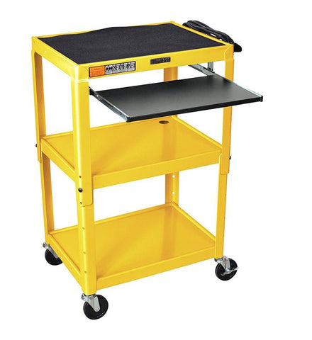 Luxor AVJ42KB-YW Luxor Adjustable Height Yellow Metal A/V Cart With Pullout Keyboard Tray - Peazz.com