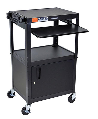 Luxor AVJ42KBC Luxor Adjustable Height Black Metal A/V Cart With Pullout Keyboard Tray and Cabinet - Peazz.com