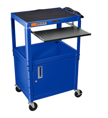 Luxor AVJ42KBC-RB Luxor Adjustable Height Blue Metal A/V Cart With Pullout Keyboard Tray and Cabinet - Peazz.com