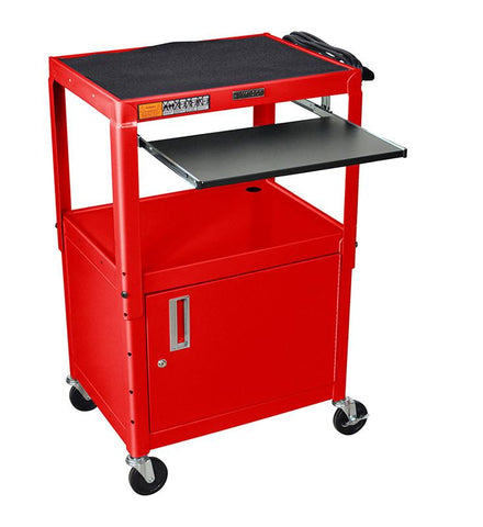 Luxor AVJ42KBC-RD Luxor Adjustable Height Red Metal A/V Cart With Pullout Keyboard Tray and Cabinet - Peazz.com