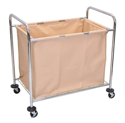 Luxor HL14 Luxor Laundry Cart With Steel Frame & Tan Canvas Bag - Peazz.com