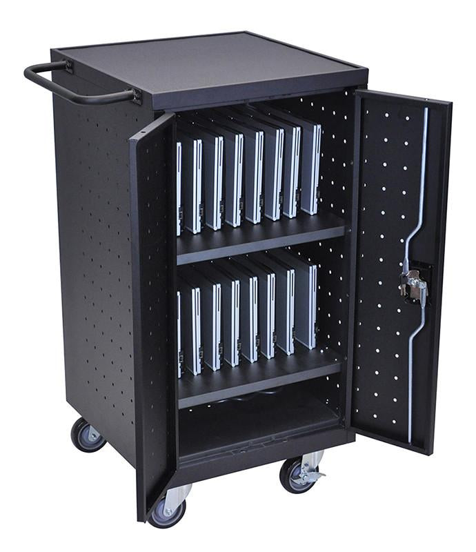 Luxor Black Laptop Computer Charging Cart Luxor