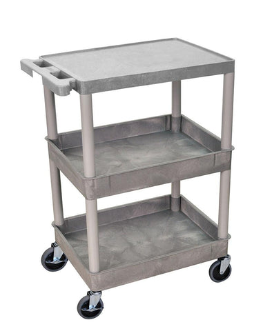 Luxor STC211-G 3 Shelf Gray Tub Cart - Peazz.com