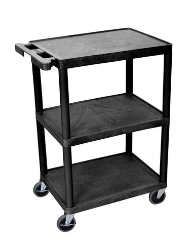 Luxor STC222-B Luxor 3 Shelf Black Cart - Peazz.com