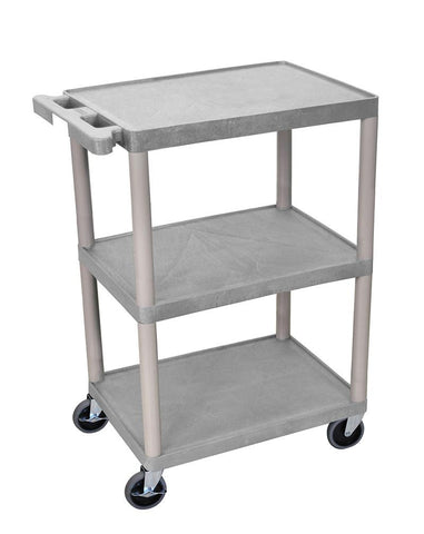 Luxor STC222-G Luxor 3 Shelf Gray Cart - Peazz.com