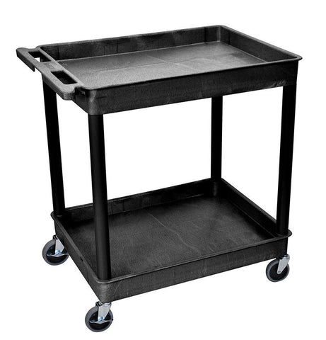 Luxor TC11-B 2 Shelf Large Black Tub Cart - Peazz.com