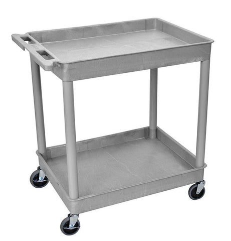Luxor TC11-G 2 Shelf Large Gray Tub Cart - Peazz.com