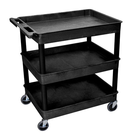 Luxor TC111-B 3 Shelf Large Black Tub Cart - Peazz.com