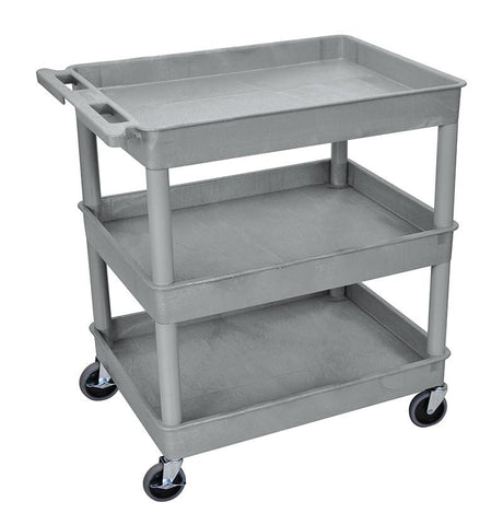 Luxor TC111-G 3 Shelf Large Gray Tub Cart - Peazz.com